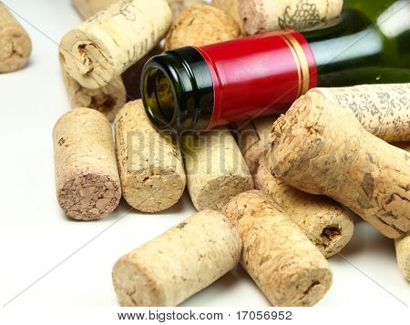 Bottle of vine with corks