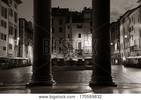 Street view from Pantheon at night. It is one of the best-preserved Ancient Roman buildings in Rome, Italy.
