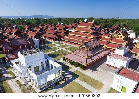 Mandalay Palace Aerial View , Myanmar landmark