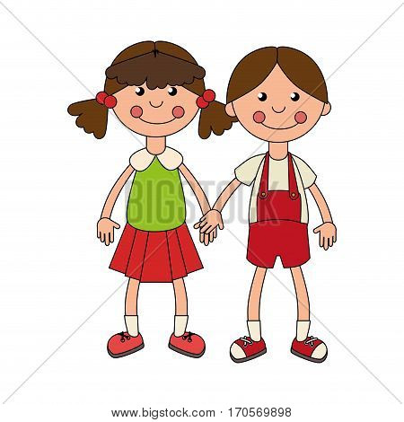 colorful set collection couple girl dolls vector illustration