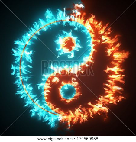 Yin and Yang symbol in red and blue fire. Concepts of: the bad inside the good and the good inside the bad in life, opposites, dark side, good and bad, black background.