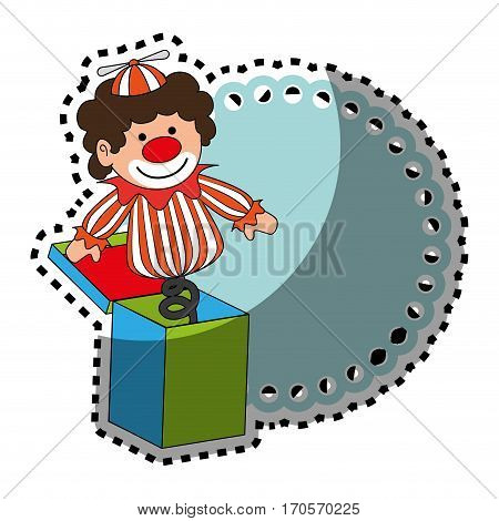 sticker colorful border wit clown in cube toy vector illustration