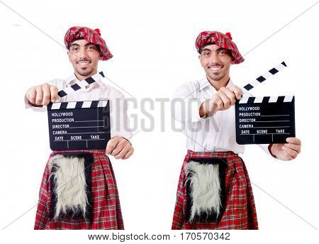 Scotsman with movie board on white
