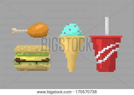 Set of pixel icons vintage sweet sign. Fast food computer design symbol retro game web graphic. Vector illustration restaurant pixelated element.