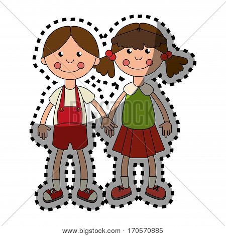 sticker colorful set collection couple girl dolls vector illustration