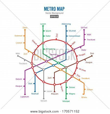 Metro Map Vector. City Transportation Scheme Concept. Colorful Background With Stations.