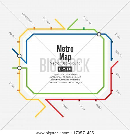 Metro Map Vector. Fictitious City Public Transport Scheme. Colorful Background With Stations.