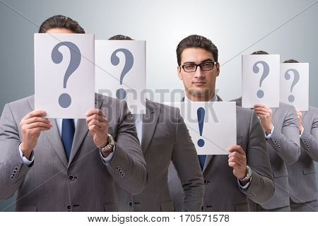 Businessman having answer to many questions