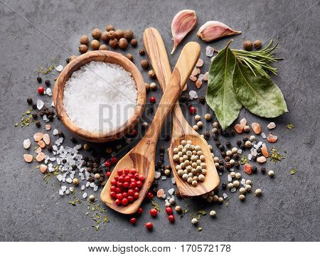 Spices on a black board