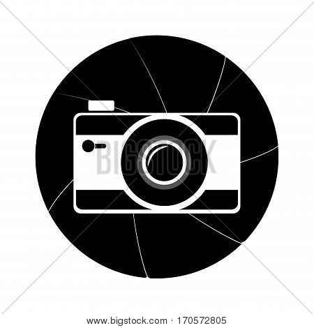 circular border in obturator shape with silhouette camera vector illustration
