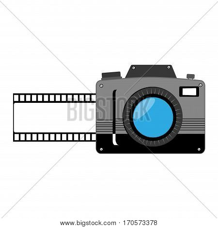 analog camera with Photographic tape vector illustration