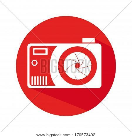 circular border with camera and obturator icon vector illustration