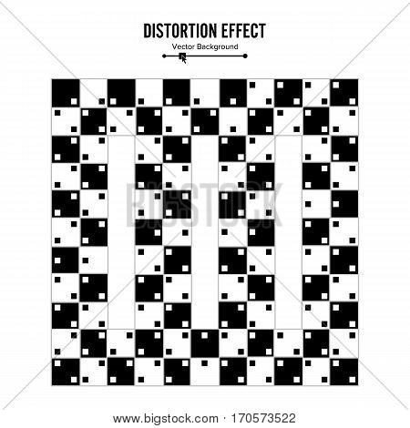 Optical Illusion. Vector 3d Art. Distortion Dynamic Effect. Geometric Magic Background