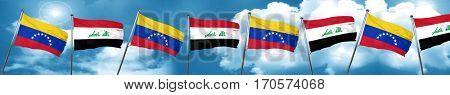 Venezuela flag with Iraq flag, 3D rendering