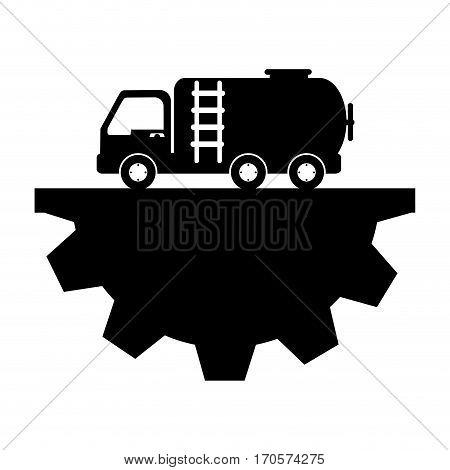 Gasoline car with half pinion vector illustration