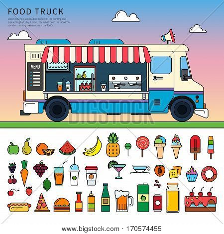 Thin line flat design of food truck on the street. Blue retro truck with food and snacks, beverages, sweets, ice cream, fruits isolated on white background