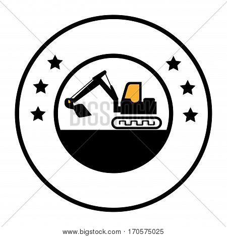 circular border with silhouette backhoe with crane vector illustration