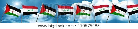 Western sahara flag with Iraq flag, 3D rendering