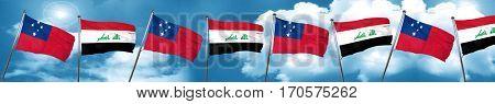 Samoa flag with Iraq flag, 3D rendering