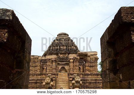 Steps and carved pedestal leading to Sun Temple at Konark Orissa India Asia