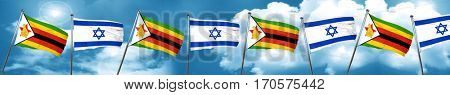 Zimbabwe flag with Israel flag, 3D rendering