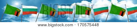 Zambia flag with Bulgaria flag, 3D rendering