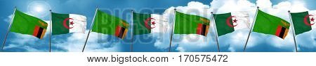 Zambia flag with Algeria flag, 3D rendering