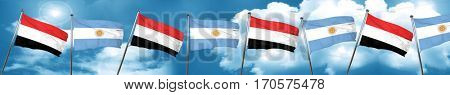 Yemen flag with Argentine flag, 3D rendering