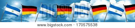 nicaragua flag with Germany flag, 3D rendering