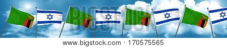 Zambia flag with Israel flag, 3D rendering