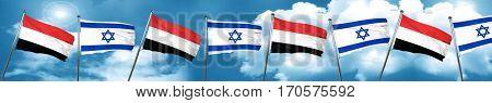 Yemen flag with Israel flag, 3D rendering