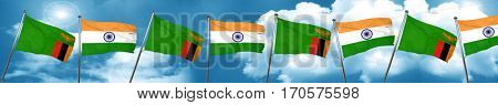 Zambia flag with India flag, 3D rendering
