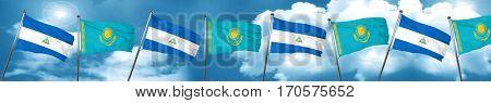 nicaragua flag with Kazakhstan flag, 3D rendering