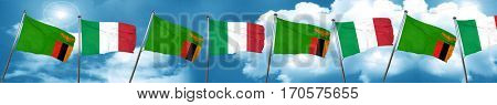 Zambia flag with Italy flag, 3D rendering