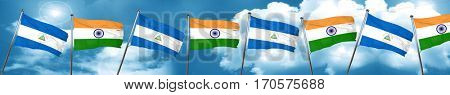 nicaragua flag with India flag, 3D rendering