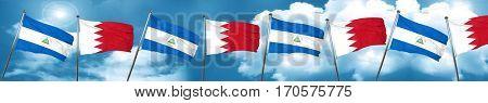 nicaragua flag with Bahrain flag, 3D rendering