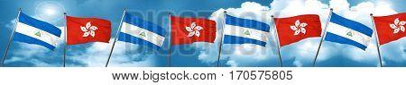 nicaragua flag with Hong Kong flag, 3D rendering