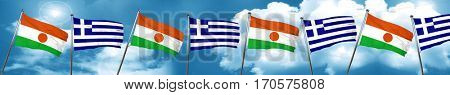 niger flag with Greece flag, 3D rendering