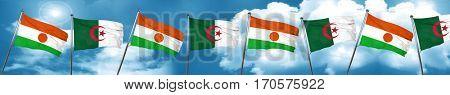 niger flag with Algeria flag, 3D rendering