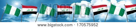 Nigeria flag with Iraq flag, 3D rendering