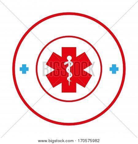 circular border with health symbol cross vector illustration