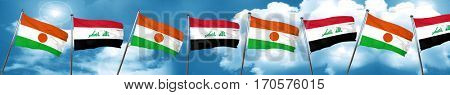 niger flag with Iraq flag, 3D rendering