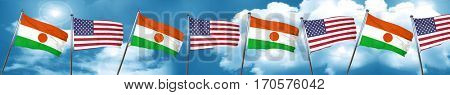 niger flag with American flag, 3D rendering
