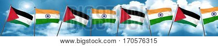 palestine flag with India flag, 3D rendering
