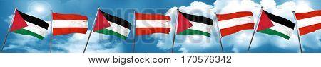 palestine flag with Austria flag, 3D rendering