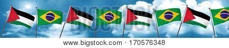 palestine flag with Brazil flag, 3D rendering