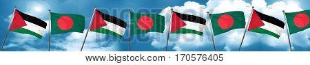 palestine flag with Bangladesh flag, 3D rendering