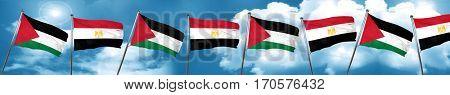 palestine flag with egypt flag, 3D rendering