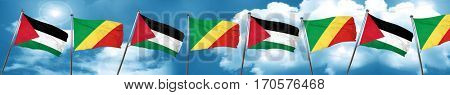 palestine flag with congo flag, 3D rendering