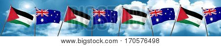 palestine flag with Australia flag, 3D rendering